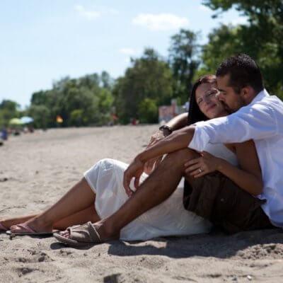 My husband and me on a beach