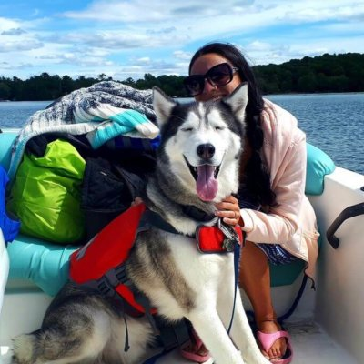 My dog and me on a boat