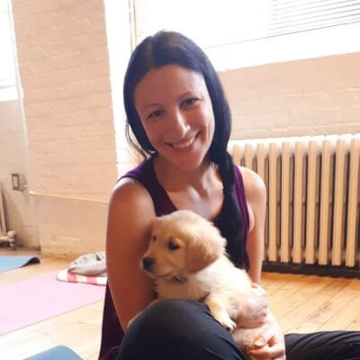 Me at puppy yoga