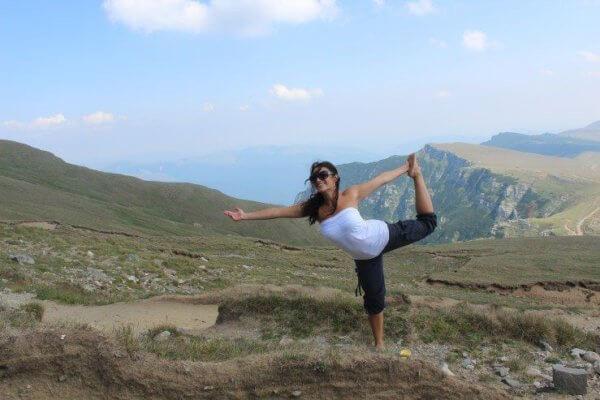 Yoga on a mountain