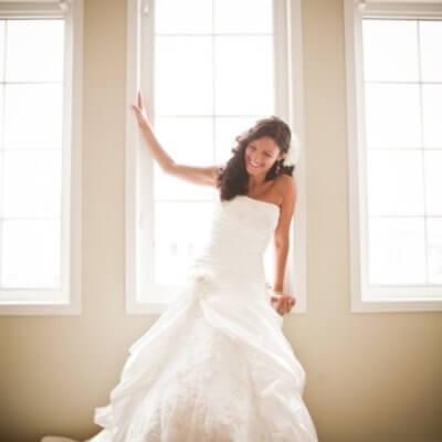 Me wearing my wedding dress