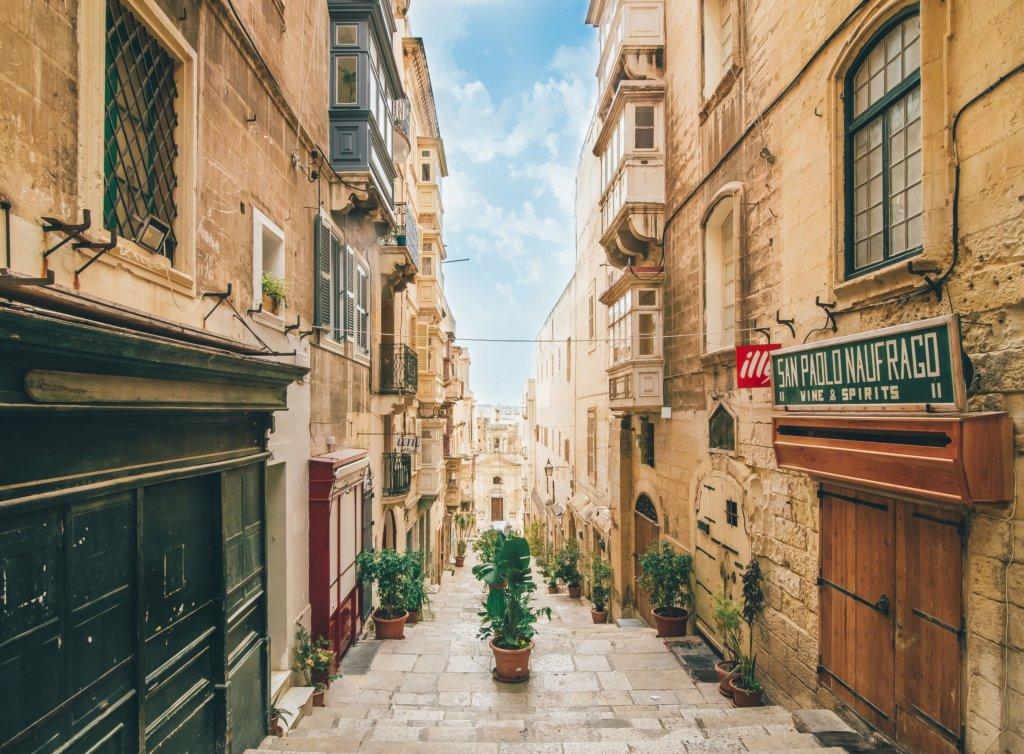 Narrow cobblestone lane of Valletta