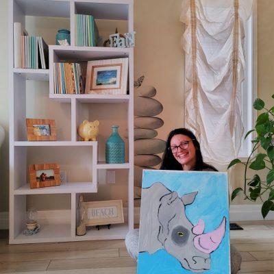 teacher with canvas