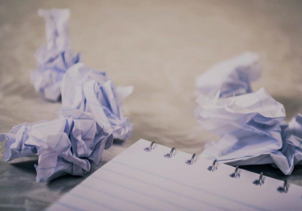 writer's block crumpled up paper ball